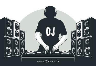 Silhueta de menino DJ com alto-falantes