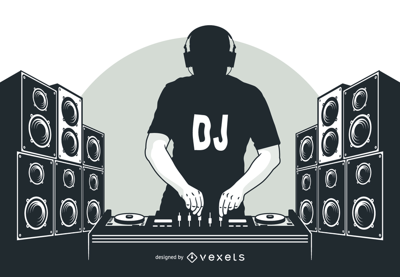 Schattenbild DJ-Junge mit Lautsprechern