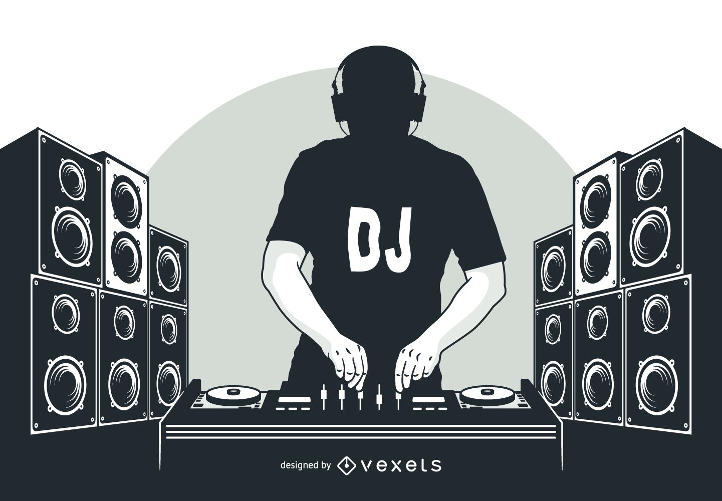 Silhouette DJ Boy with Speakers