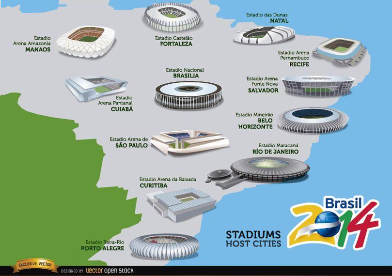 Estádios hospeda cidades Brasil 2014 map