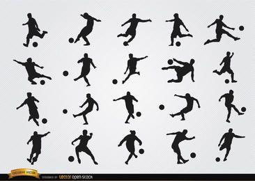 Jogadores de futebol silhuetas