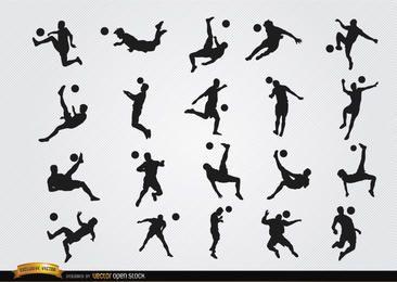 Silhuetas de jogadores de futebol jogando bola e pulando