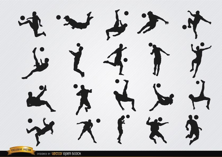Soccer players? hitting ball jumping silhouettes
