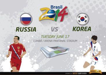 Rússia vs. Jogo da Coreia pelo Brasil 2014