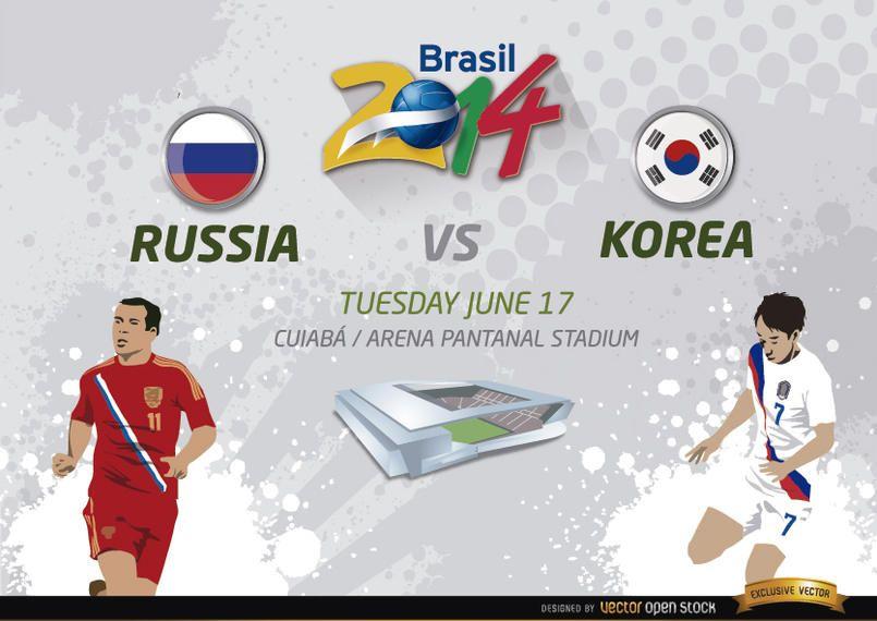 Rússia vs. Jogo da Coreia para o Brasil 2014
