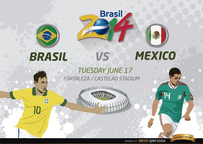 brasil vs m 233 xico partido para brasil 2014 descargar vector