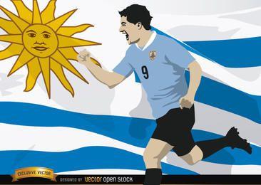 Luis Suarez com bandeira do Uruguai