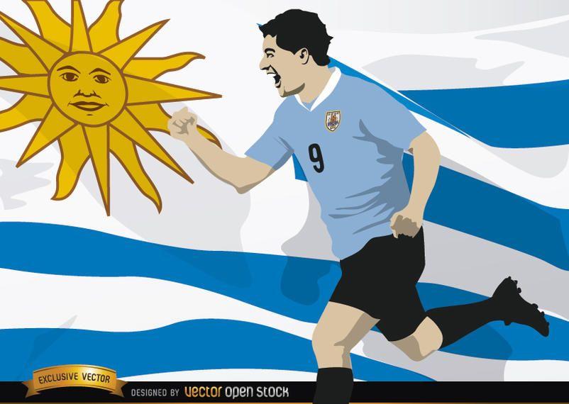 Luis Suarez With Uruguay Flag Vector Download - Uruguay flag