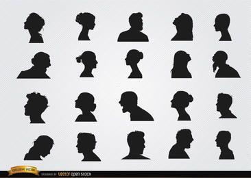 Conjunto de silhuetas de perfil