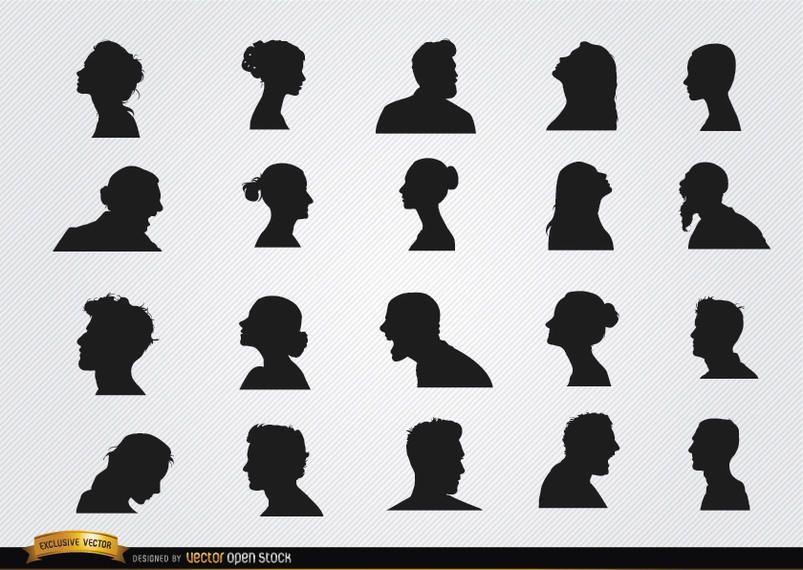 Conjunto de siluetas de perfil