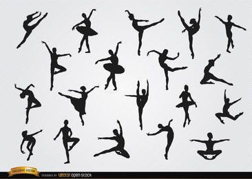 Conjunto de silhuetas de dançarinas de balé