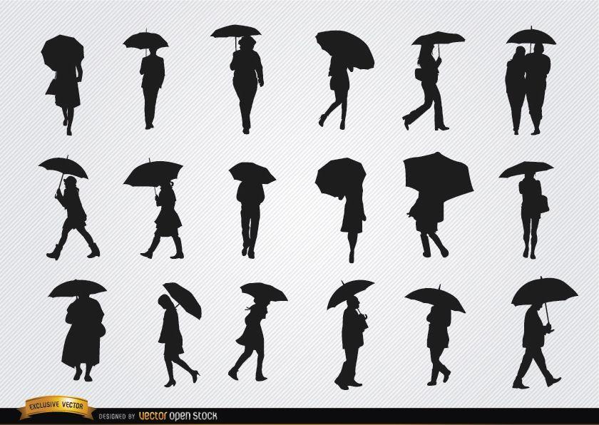 Conjunto de siluetas de personas caminando con paraguas