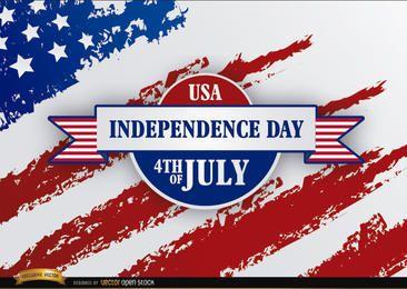 Bandeira dos EUA com fita do Dia da Independência