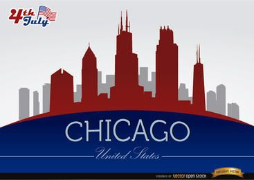Horizonte de Chicago el 04 de julio la celebración