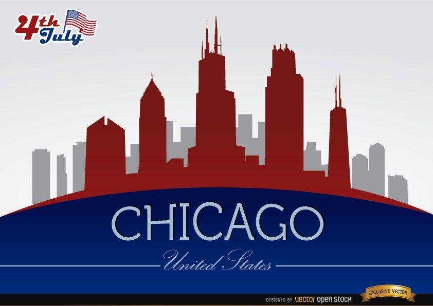 Horizonte de Chicago na celebração do 4 de julho