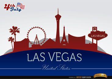 Silhuetas da cidade de Las Vegas em 4 de julho