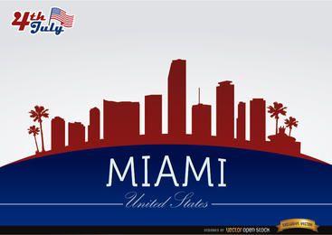 Skyline de Miami em 04 de julho comemoração