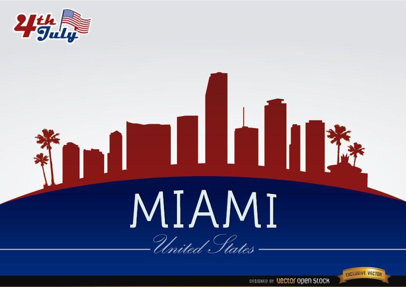 Horizonte de Miami el 4 de julio de conmemoración.