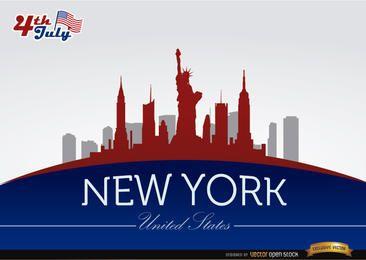 Skyline de New York em 04 de julho comemoração