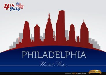 Philadelphia Skyline am 4. Juli Gedenken