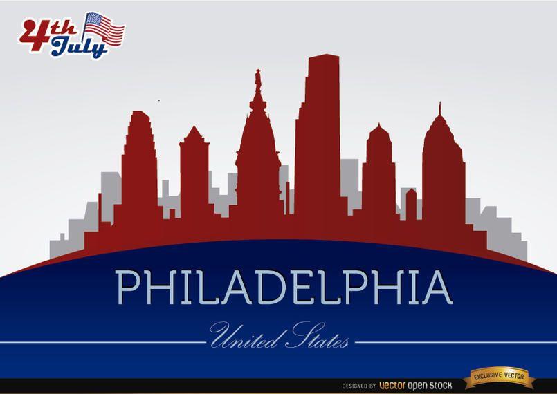 Philadelphia Skyline am 4. Juli Gedenken