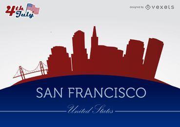 Silhuetas da cidade de San Francisco em 04 de julho