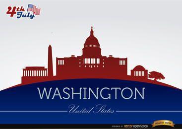 Silhuetas de cidade de Washington em 4 de julho