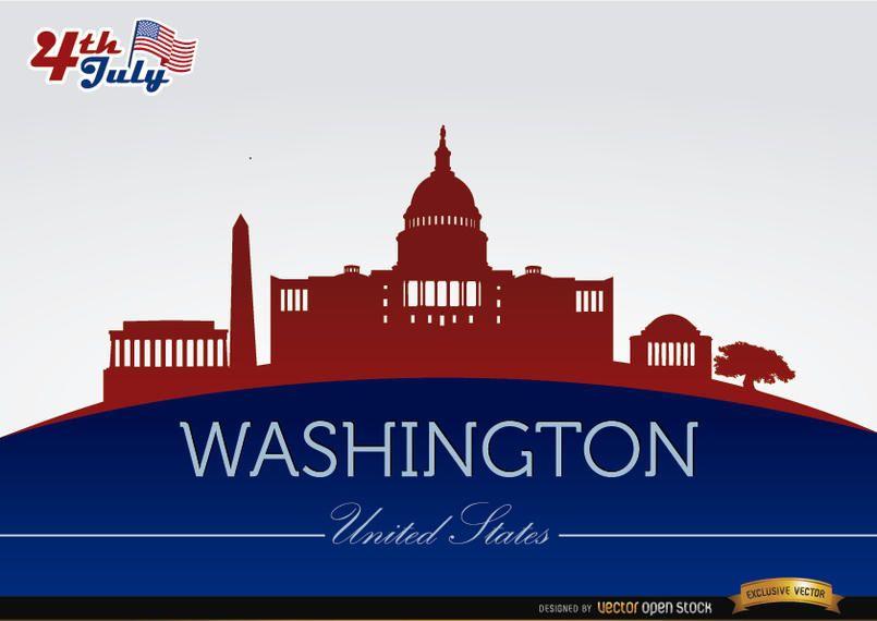 Siluetas de la ciudad de Washington el 4 de julio.