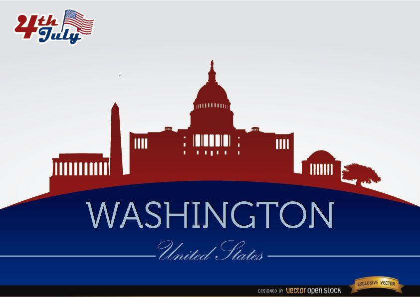 Washington city silhouettes on July 4th