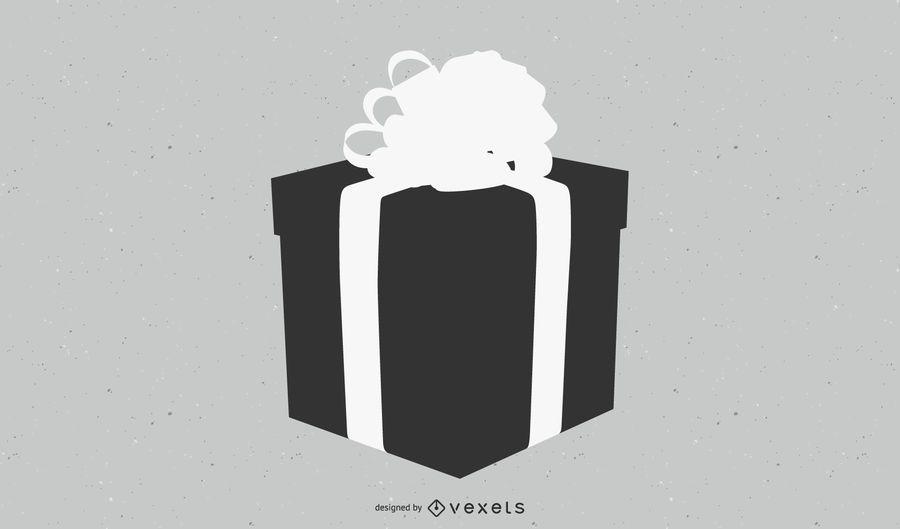Caja de regalo plana negra y blanca con cinta 3D