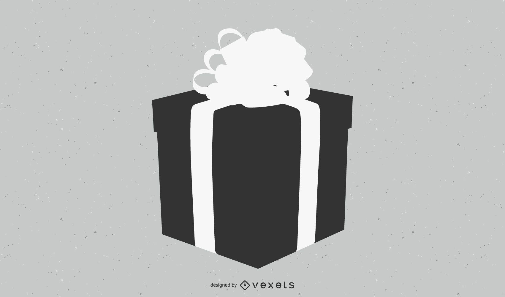 3D Black & White Flat Gift Box with Ribbon