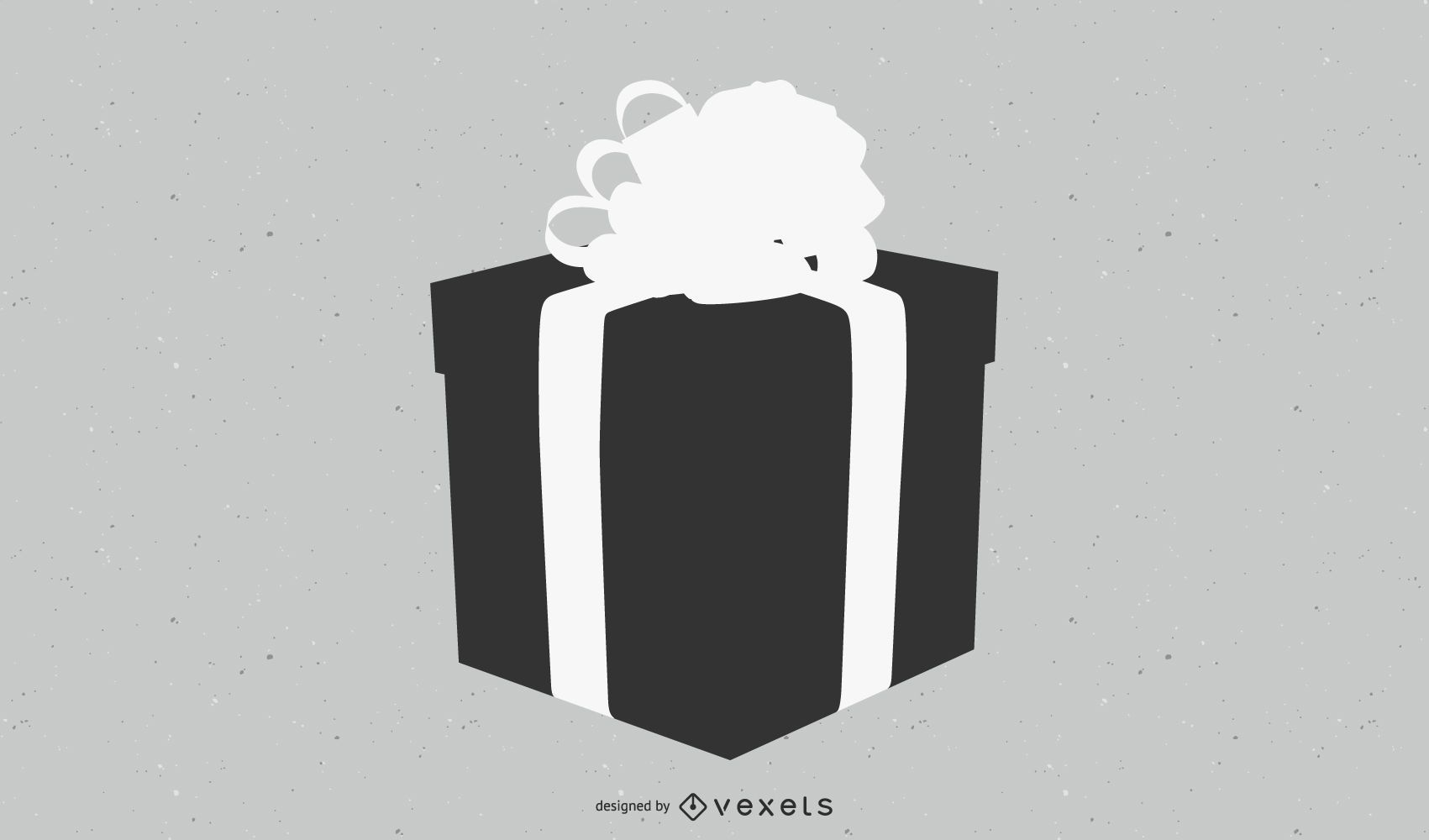 Caja de regalo plana 3D en blanco y negro con cinta