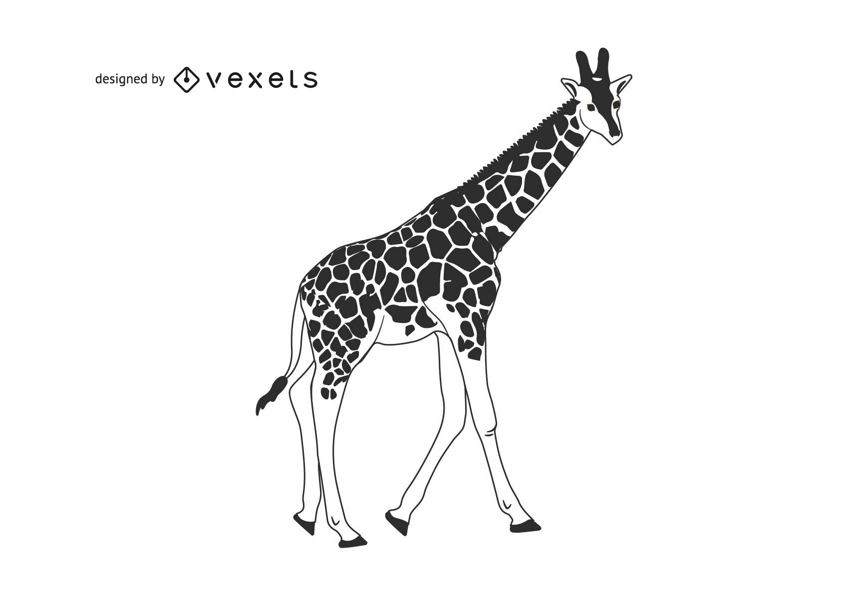Girafa preto e branco com estampa detalhada do corpo