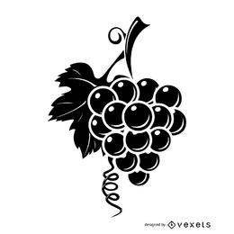 Racimo de uvas de vino con rama de árbol