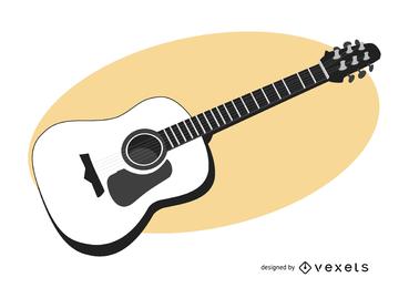 Guitarra negra y blanca trazada a mano