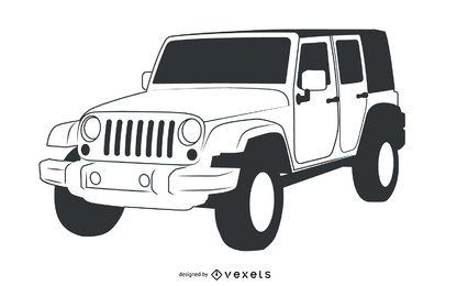 Jeep Wrangler con trazado a mano en blanco y negro