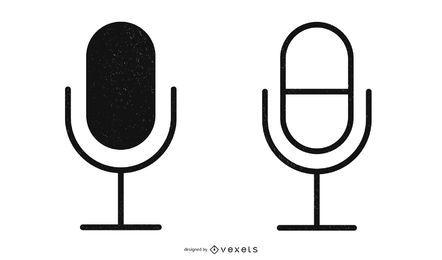 Icónico micrófono abstracto negro
