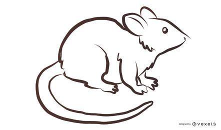 Dibujo de ratón blanco y negro