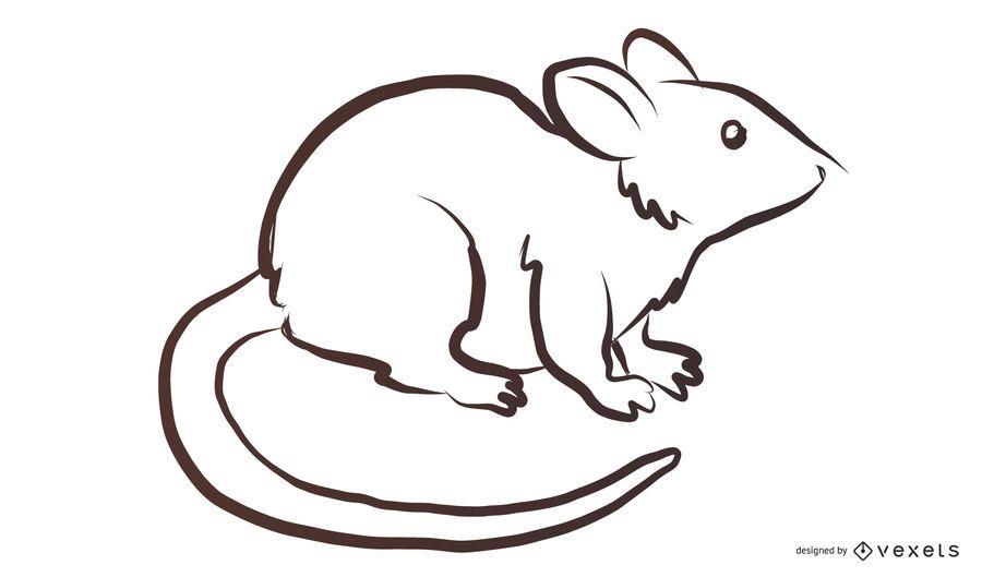 Bosquejo de ratón blanco y negro
