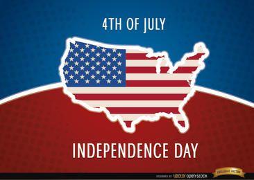 Bandera de mapa de Estados Unidos el 4 de julio