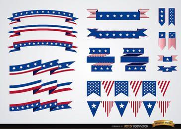 Conjunto de fitas de cores dos EUA
