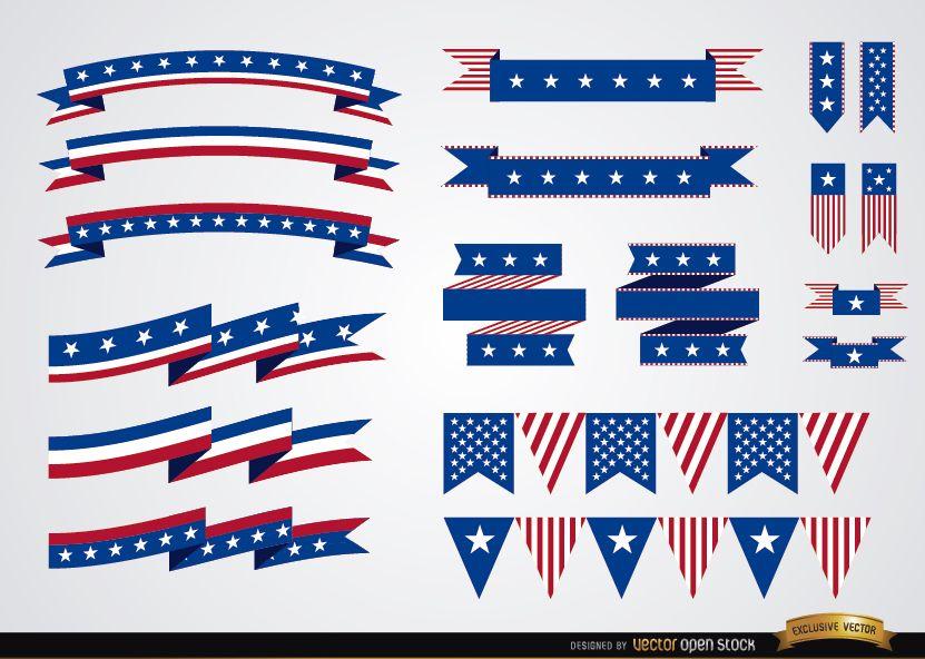 USA colors ribbons set