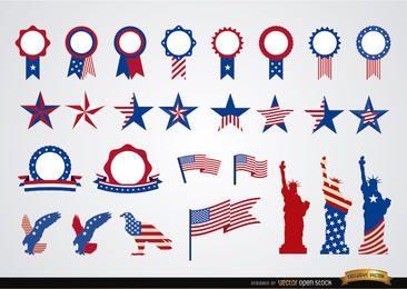 Conjunto de fitas redondas e decoração dos EUA