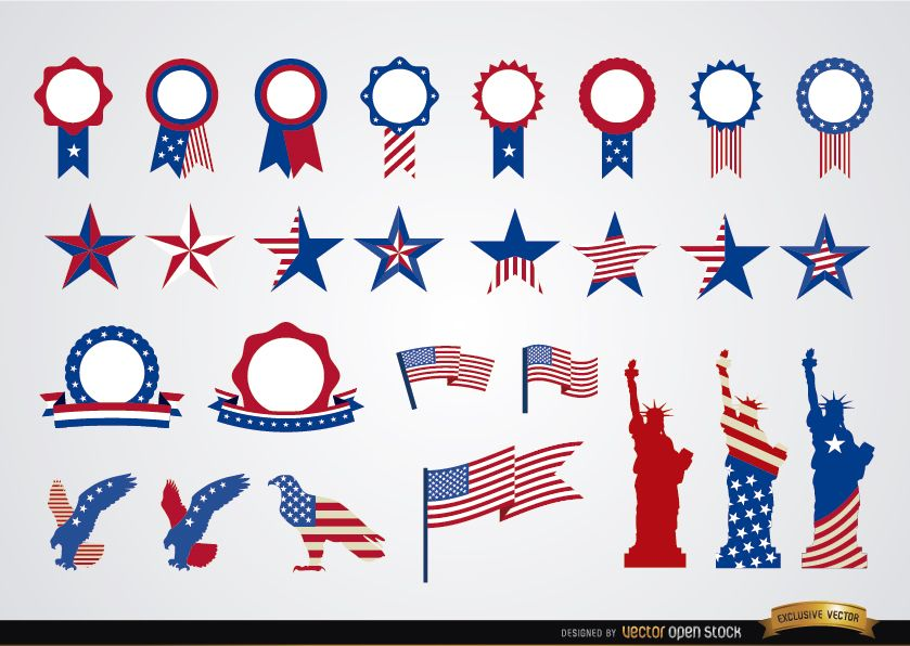 USA round ribbons and decoration set