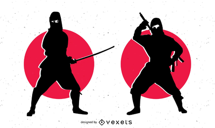Silhouette Ninja Character with Sword