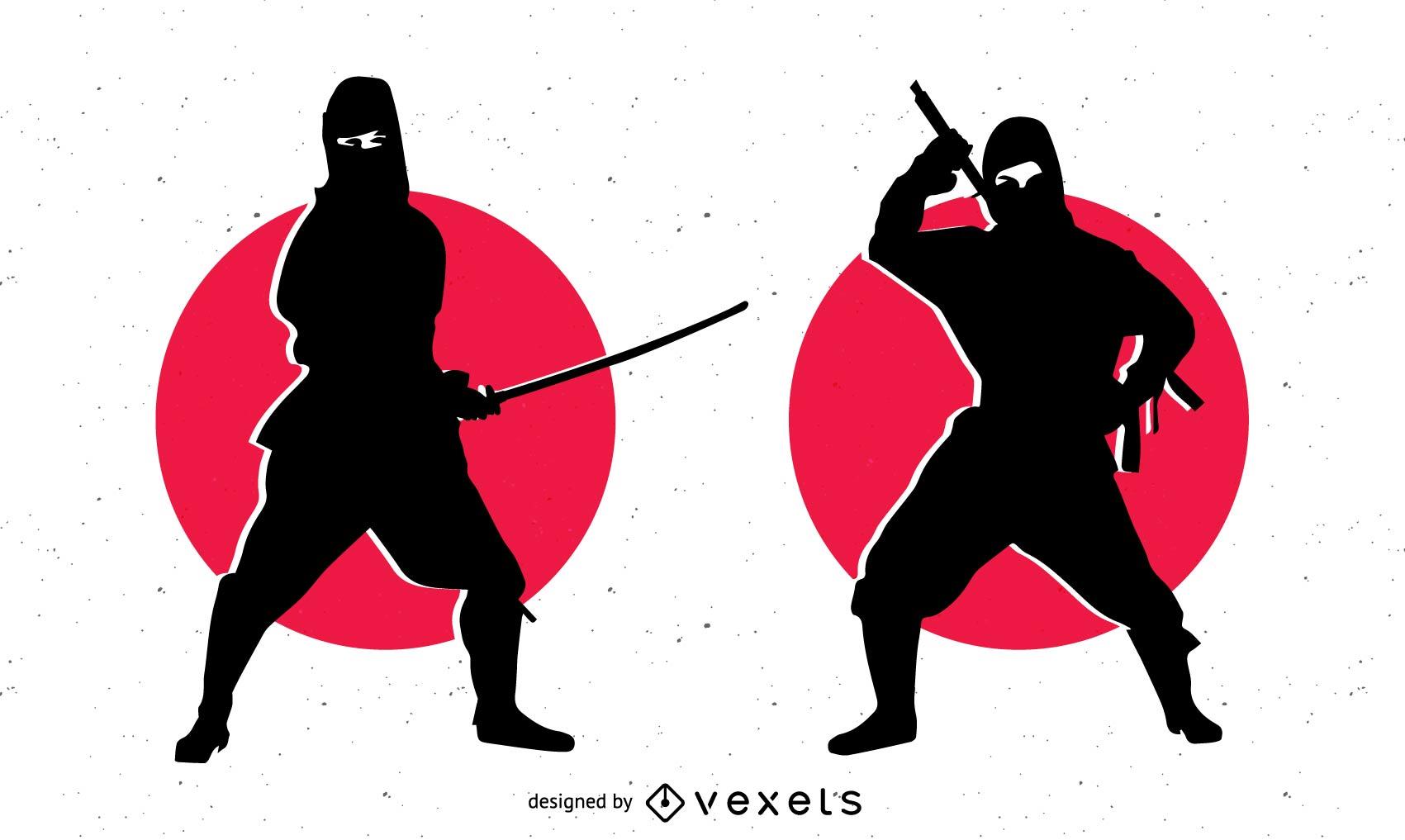 Silhouette Ninja Character with Sword