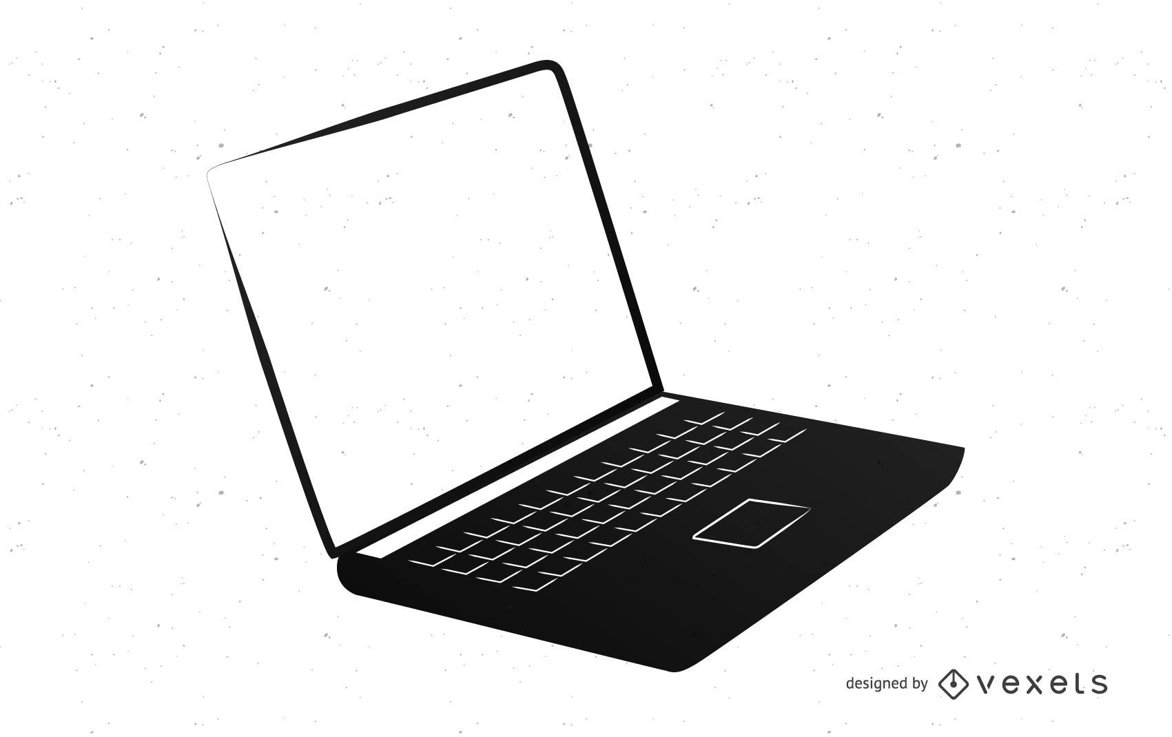 Silueta de portátil con pantalla en blanco