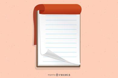 Bloc de notas en blanco colgado en un tablero