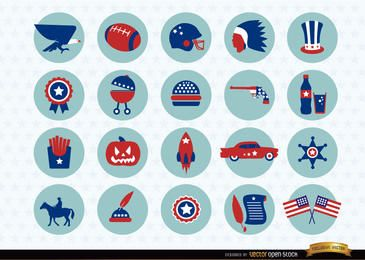 USA nationale Symbole Icons Pack