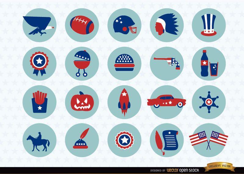 USA national symbols icons pack
